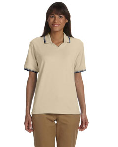 Stone/navy Women's Tipped Perfect Pima Interlock Polo