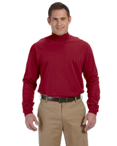 Crimson Sueded Cotton Jersey Mock Turtleneck