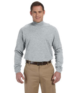 Grey Heather Sueded Cotton Jersey Mock Turtleneck
