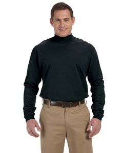 Black Sueded Cotton Jersey Mock Turtleneck