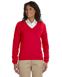 Red Women's V-Neck Sweater