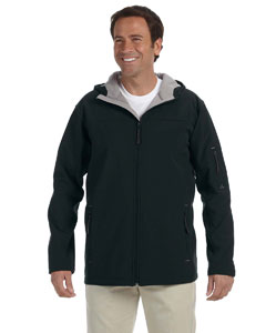 Black Men's Hooded Soft Shell Jacket