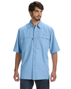 Sky Men's 100% Polyester Short-Sleeve Fishing Shirt