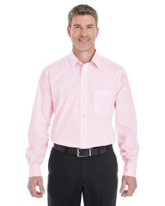 Pink/ White Mens Crown Woven Collection StripedShirt