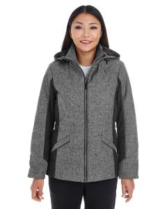 Dk Grey Hth/ Blk Ladies' Midtown Insulated Fabric-Block Jacket with Crosshatch Melange