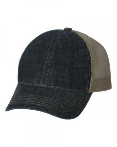 Navy/ Khaki Denim Mesh Back Cap