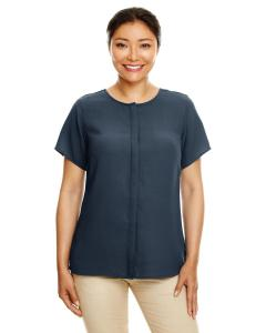 Navy Ladies' Perfect Fit™  Short-Sleeve Crepe Blouse