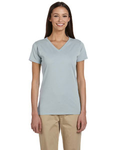 Blue Sage Women's 4.4 oz., 100% Organic Cotton Short-Sleeve V-Neck T-Shirt