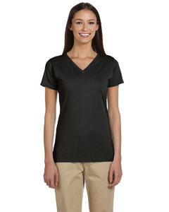 Black Women's 4.4 oz., 100% Organic Cotton Short-Sleeve V-Neck T-Shirt