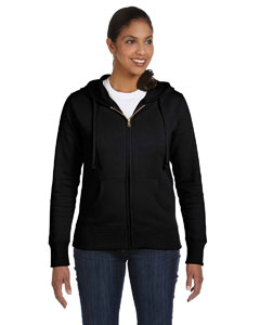 Black Ladies' 9 oz. Organic/Recycled Full-Zip Hood
