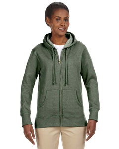 Military Green Ladies' 7 oz. Organic/Recycled Heathered Fleece Full-Zip Hood