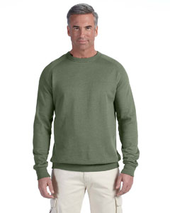 Military Green 7 oz. Organic/Recycled Heathered Fleece Raglan Crew