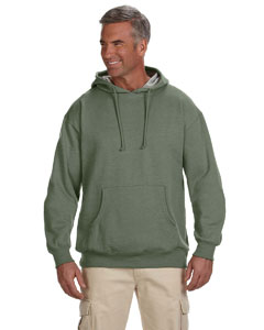 Military Green 7 oz. Organic/Recycled Heathered Fleece Pullover Hood