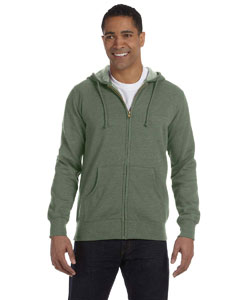 Military Green 7 oz. Unisex Organic/Recycled Heathered Full-Zip Hood