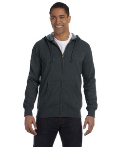 Charcoal 7 oz. Unisex Organic/Recycled Heathered Full-Zip Hood