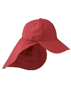 Nautical Red 6-Panel Low-Profile Cap with Elongated Bill and Neck Cape