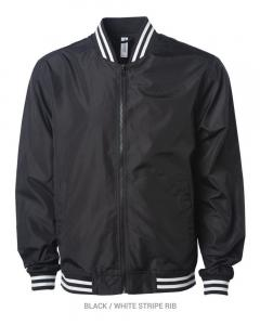 Black/ White Stripe Lightweight Bomber Jacket