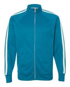 Aster Blue Unisex Poly-Tech Full-Zip Track Jacket