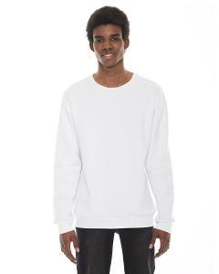 White Unisex Flex Fleece Drop Shoulder Pullover Crewneck