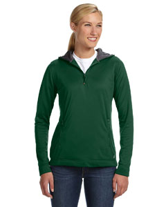 Dark Green Women's Tech Fleece Quarter-Zip Pullover Hood