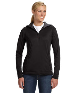 Black Women's Tech Fleece Quarter-Zip Pullover Hood
