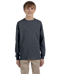 Charcoal Ultra Cotton® Youth 6 oz. Long-Sleeve T-Shirt