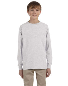 Ash Grey Ultra Cotton® Youth 6 oz. Long-Sleeve T-Shirt