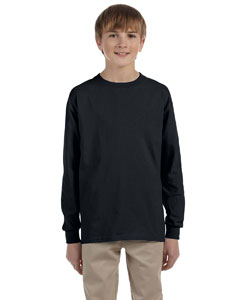Black Ultra Cotton® Youth 6 oz. Long-Sleeve T-Shirt