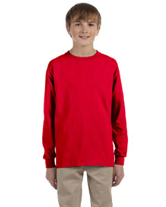 Red Ultra Cotton® Youth 6 oz. Long-Sleeve T-Shirt