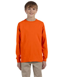 Orange Ultra Cotton® Youth 6 oz. Long-Sleeve T-Shirt