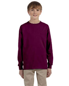 Maroon Ultra Cotton® Youth 6 oz. Long-Sleeve T-Shirt