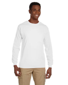 White Ultra Cotton® 6 oz. Long-Sleeve Pocket T-Shirt
