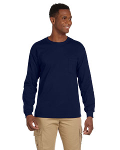 Navy Ultra Cotton® 6 oz. Long-Sleeve Pocket T-Shirt