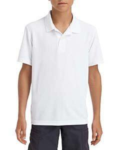 White Youth Performance® 5.6 oz. Double Pique Polo
