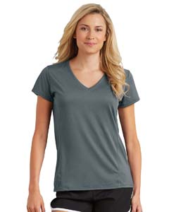 Marbled Charcoal Ladies' Performance® 4.7 oz. V-Neck Tech T-Shirt