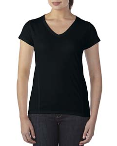 Black Ladies' Tech Short-Sleeve V-Neck