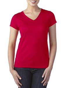 Red Ladies' Performance® 4.7 oz. V-Neck Tech T-Shirt