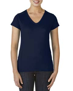 Marbled Navy Ladies' Performance® 4.7 oz. V-Neck Tech T-Shirt