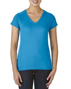 Marbled Sapphire Ladies' Performance® 4.7 oz. V-Neck Tech T-Shirt