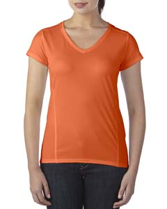 Marbled Orange Ladies' Performance® 4.7 oz. V-Neck Tech T-Shirt