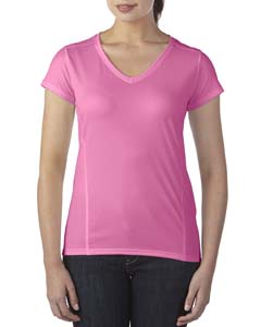 Safety Pink Ladies' Performance® 4.7 oz. V-Neck Tech T-Shirt