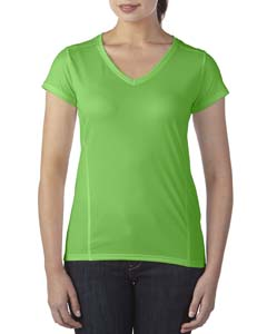 Electric Green Ladies' Performance® 4.7 oz. V-Neck Tech T-Shirt