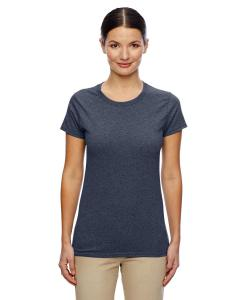 Heather Navy Women's 5.3 oz. Heavy Cotton Missy Fit T-Shirt