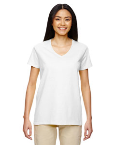 White Heavy Cotton™ Ladies' 5.3 oz. V-Neck T-Shirt