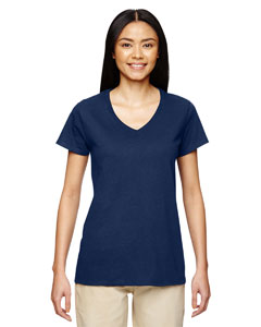 Navy Heavy Cotton™ Ladies' 5.3 oz. V-Neck T-Shirt