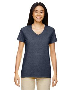 Heather Navy Heavy Cotton™ Ladies' 5.3 oz. V-Neck T-Shirt