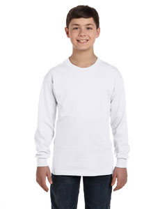 White Heavy Cotton™ Youth 5.3 oz. Long-Sleeve T-Shirt
