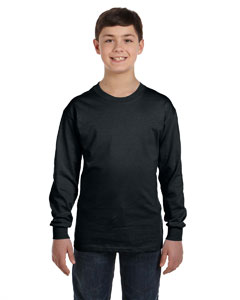 Black Heavy Cotton™ Youth 5.3 oz. Long-Sleeve T-Shirt