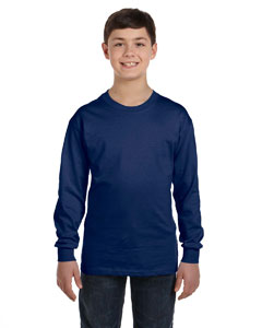 Navy Heavy Cotton™ Youth 5.3 oz. Long-Sleeve T-Shirt