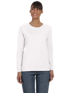 White Ladies' Heavy Cotton™ 5.3 oz. Long-Sleeve T-Shirt